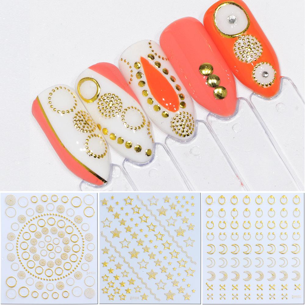 Nail Slider Stickers 3D Nail Art Calcomanías doradas Manicure Moon Circles Crown Wave para decoraciones adhesivas JIDP325-348