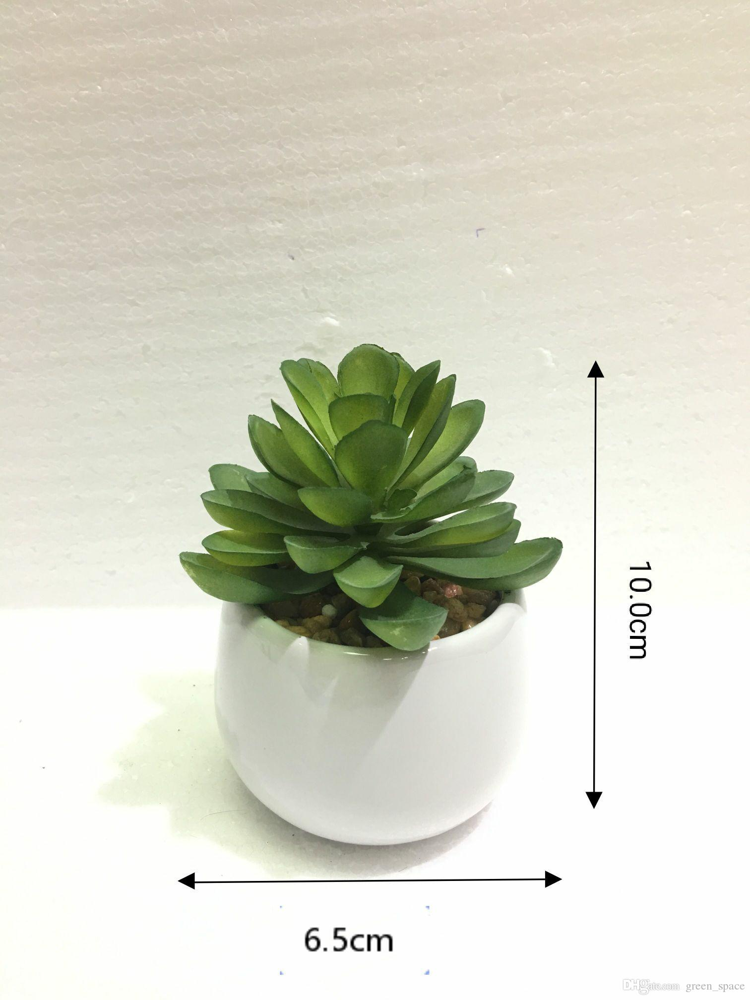 6.5*6.5*10.0cm Artificial Succulent Simulation Plants With White Pots For Coffee Table Living Room and Christmas Party Decoration