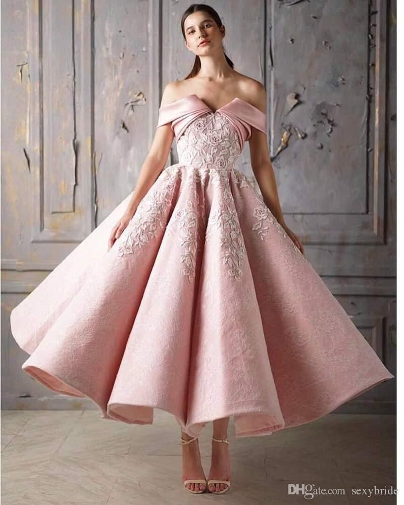 8866e982ab0 Charming Off Shoulder Ball Gown Blush Pink Prom Dresses Ankle Length New  2019 Lace Applique Girl Puffy Evening Gowns Short Formal Event Wear Gold  Prom ...