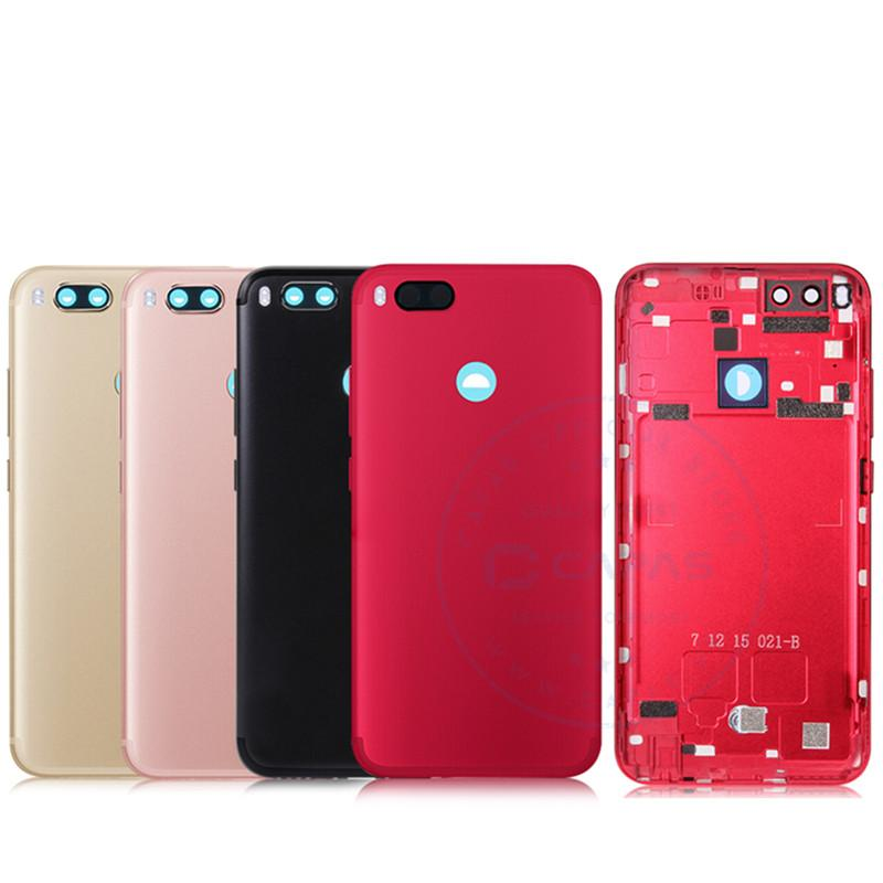 b541a445b For Xiaomi Mi A1 Back Cover Housing Metal Xiaomi A1 Rear Battery Cover +  Camera Glass + Side button Key Replacement Spare Parts