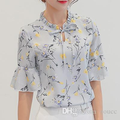 3b891566e7b 2019 Dioufond Summer Vintage Floral Blouse Long Sleeve Women Camisas ...