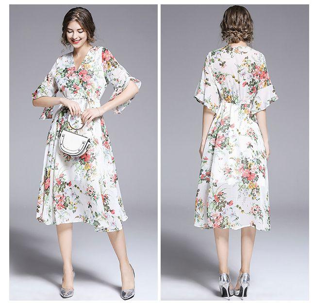 c4da48dcd87332 Women Chiffon Beach Dresses Floral Pattern Short Sleeve V Neck Boho ...