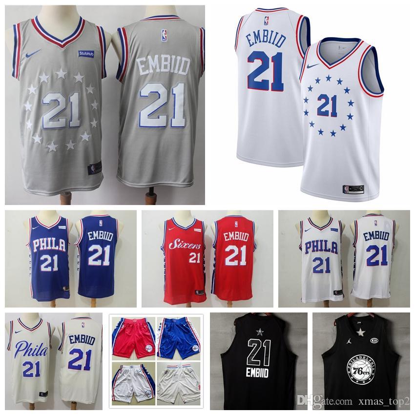 watch 97db6 21cee 2019 Mens 76ers 21 Embiid Philadelphia Jersey 76ers Basketball Jerseys  Stitched New City Jerseys Embiid Jerseys 76ers Basketball Shorts
