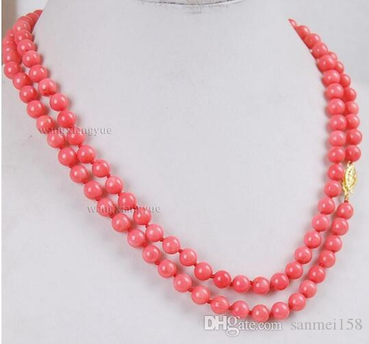 "Women Gift word Love Hot sale Shipping>>long 32"" 6mm Japan Pink Coral Round Beads Necklace mujer for silver-jewelry"