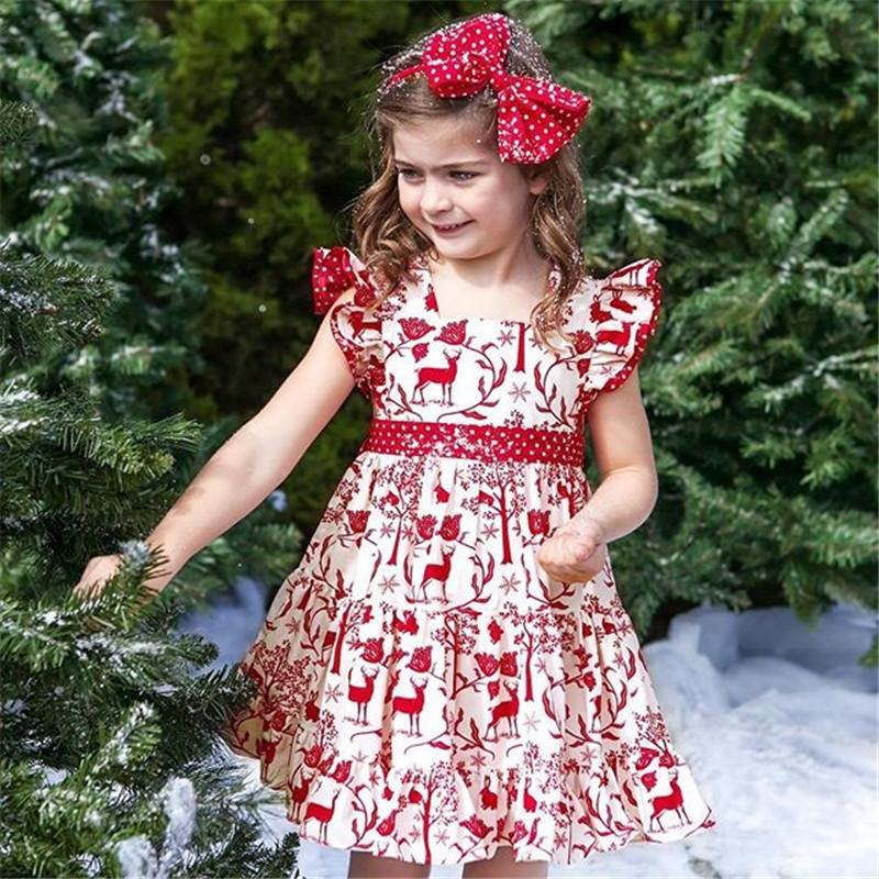 72b5e89313e83 2019 Toddler Kids Baby Girls XMAS Dresses Deer Bowknot Pageant Party Wedding  Princess Dress Fly Sleeve Printed Clothes From Paradise13, $35.5 |  DHgate.Com