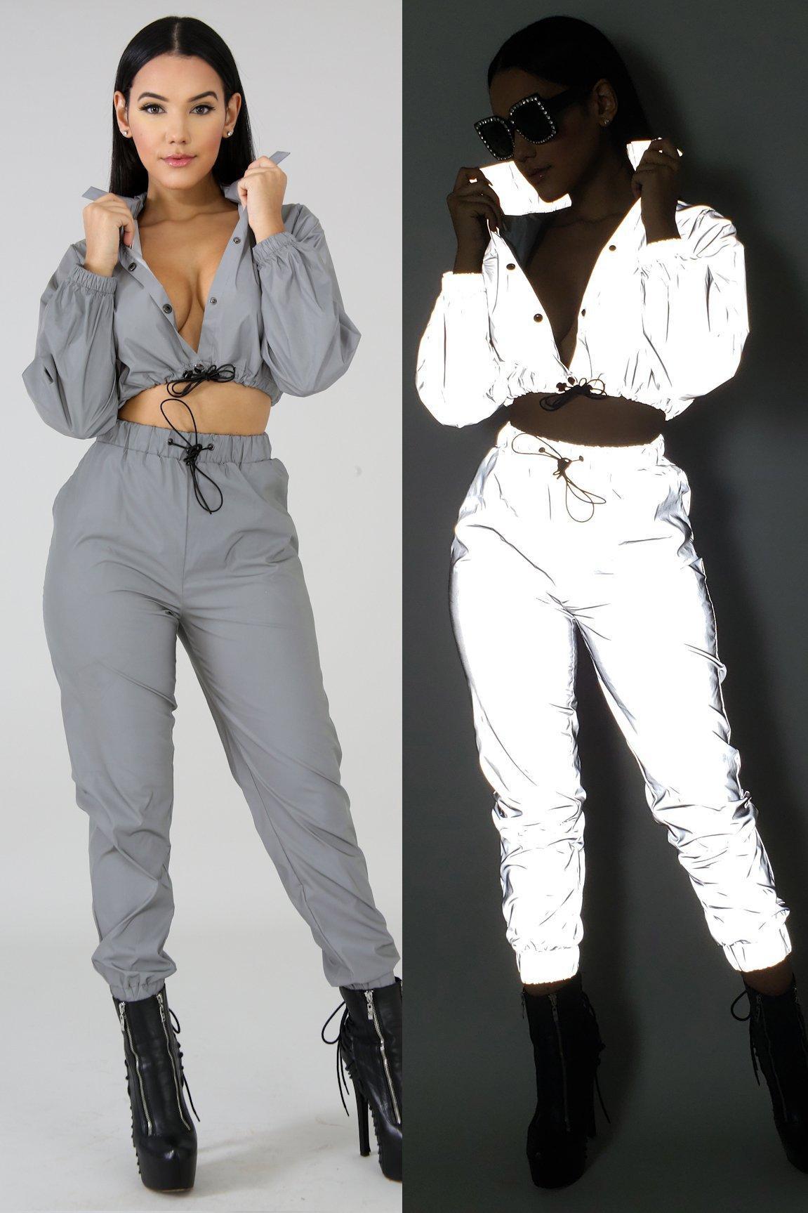 3844cc92314fa Women Designer 3M Reflective Suits Crop Top Pants Clothing Sets ...