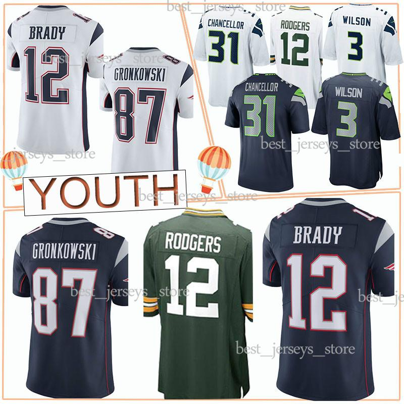 ba5da6df YOUTH New Patriot Green Bays 33 Packer Seattle 22 Seahawk Jerseys 12 Tom  Brady 12 Aaron Rodgers 3 Russell Wilson new Kids jersey top