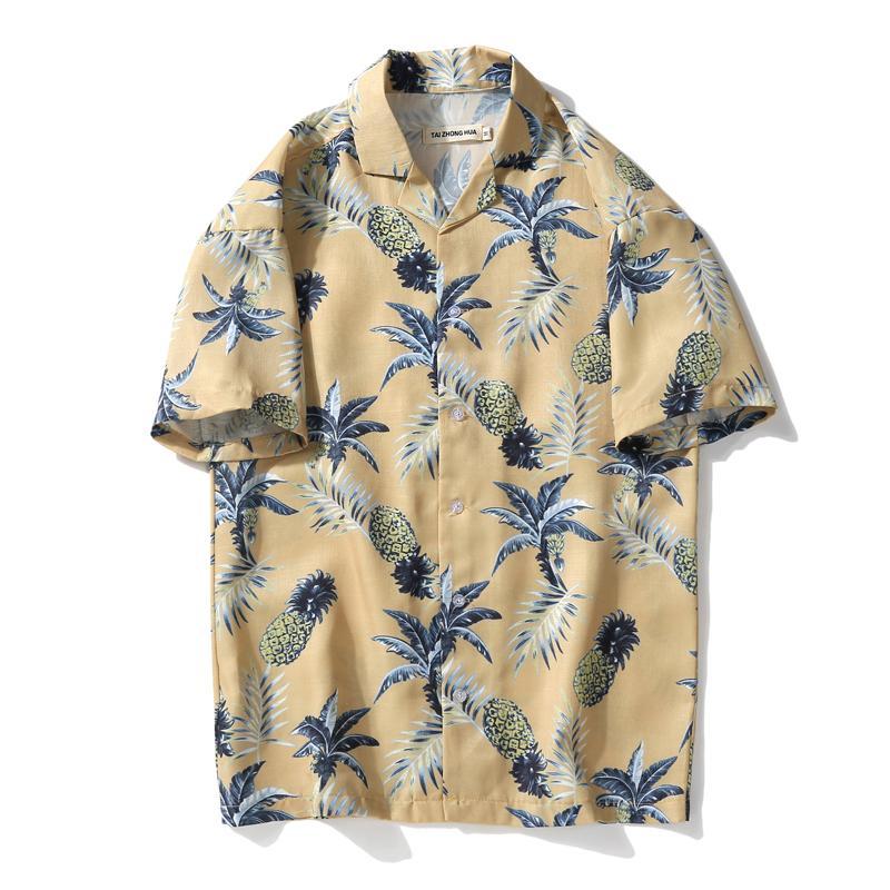 dd411a0b8bc6 Camisa hawaiana de verano para hombre / mujer, manga corta, estampado de  piña, camisas de playa, camisa de estilo informal para hombres, camisas ...