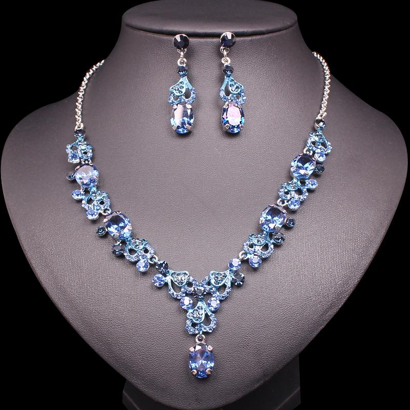 3e6e3e60460 Fashion Cubic Zirconia Necklace Earrings Luxury Bridal Wedding Party  Jewellery Sets Crystal Jewelry Sets Gifts for Women Girls