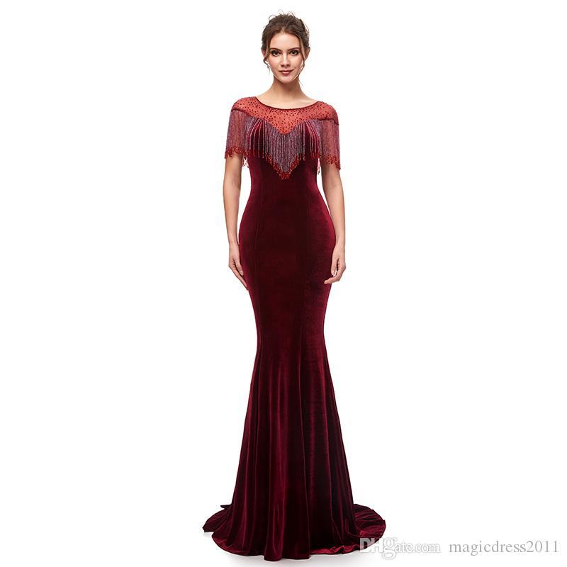 859f636701d77 Satın Al Seksi Kadife 2019 Mermaid Abiye Jewel Boyun Örgün Parti Elbise  Fermuar Bordo Balo Elbise Ünlü Abiye Özel Stokta Yapılan, $108.55    DHgate.Com'da