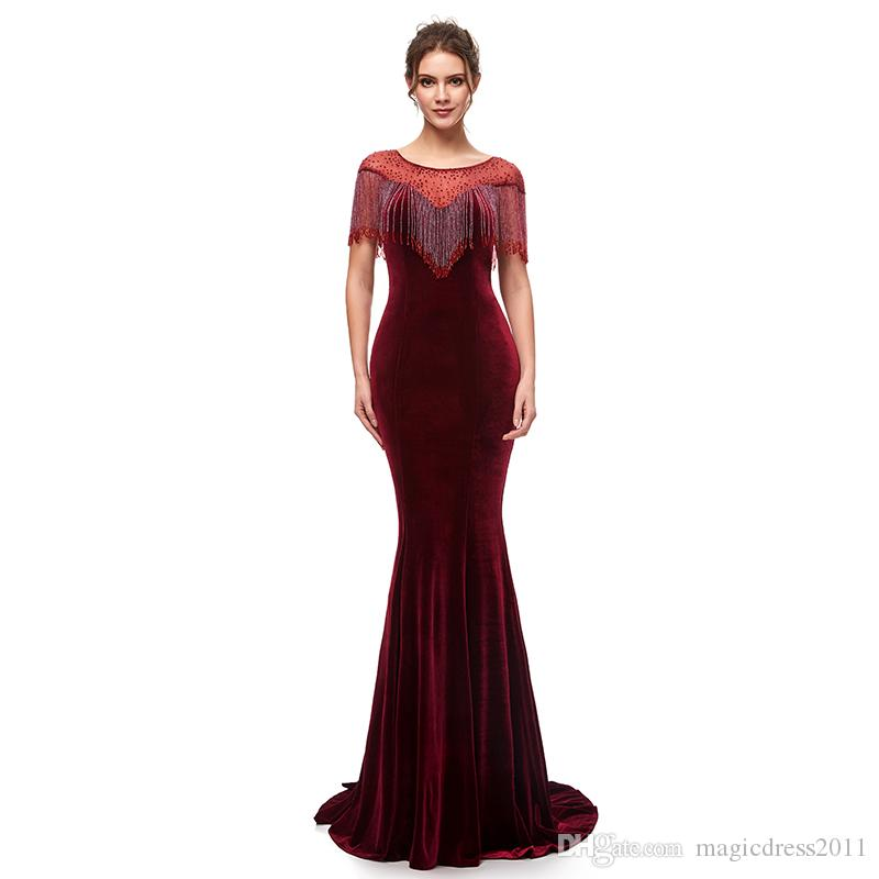 237239f32301 Sexy Velvet 2019 Mermaid Evening Dresses Jewel Neck Formal Party Dresses  Zipper Burgundy Prom Dress Celebrity Gowns Custom Made In Stock Occasion  Dress ...
