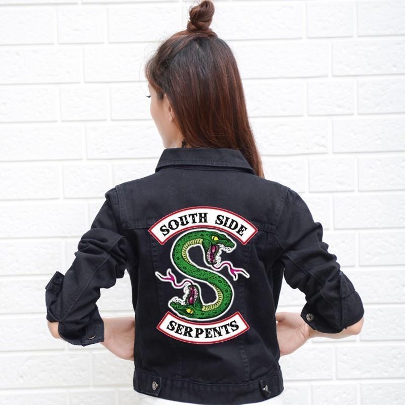 quality design 19fe6 85665 Riverdale Serpents Jeans Giacca di jeans South Side Streetwear Tops  Primavera Jean Cappotti e giacche Donna Giacca Denim Femmina
