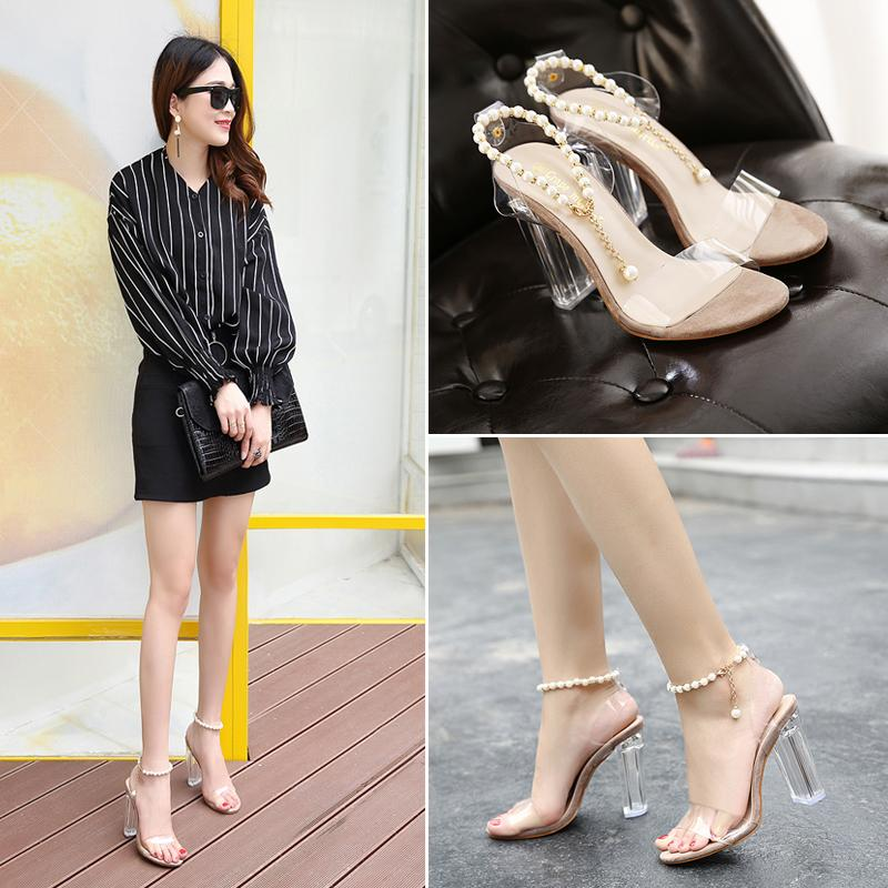 Hot Sale-Summer fashion beading chain crystal shoes clear transparent thick heel sandals party events size 35 to 40
