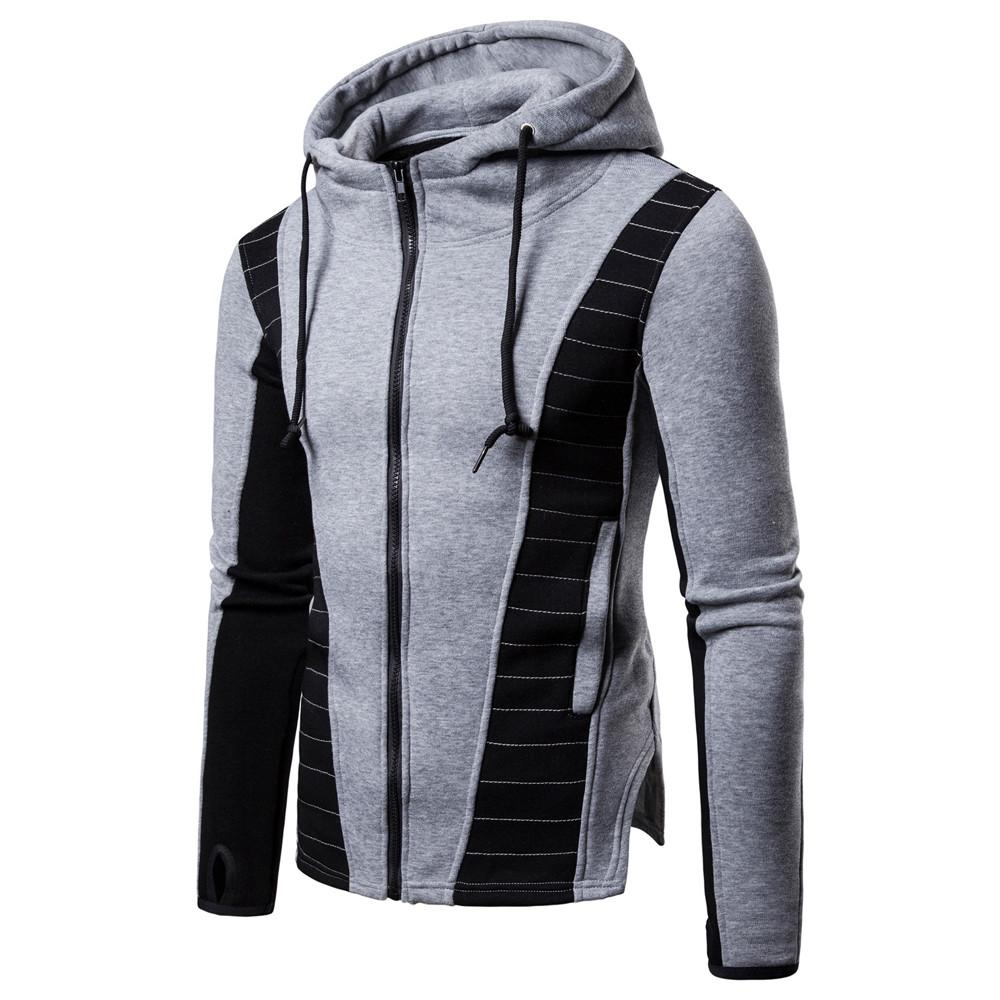 79f49a551c175 Mens Splice Fold Zipper Pullover Autumn Winter Warm Long Sleeve Hoodies  Pocket Fit Sweatshirt Tracksuit Multi-color optional