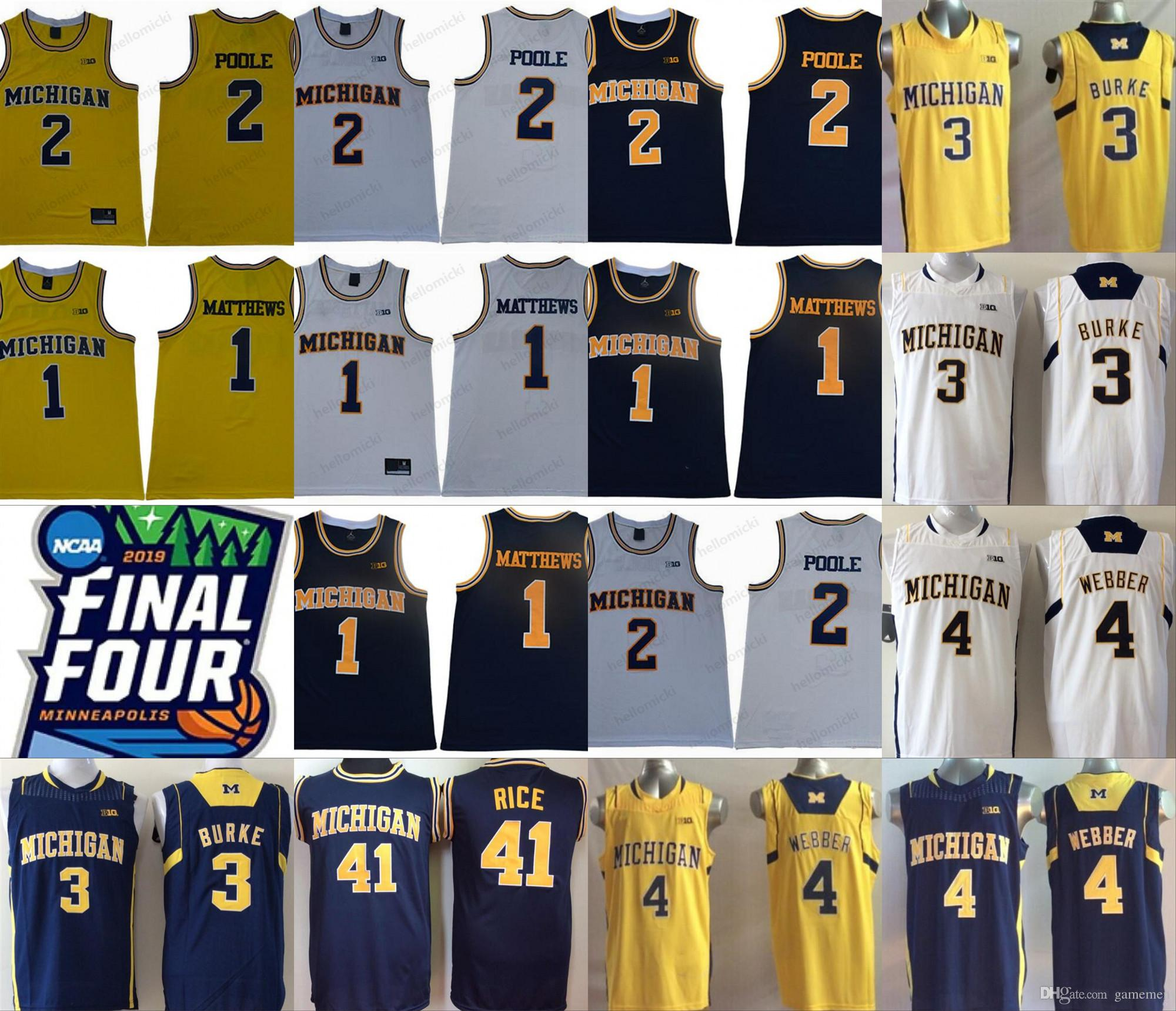 new concept c12b7 54e6e Michigan Wolverines Charles Matthews Jorda Poole Trey Burke Jalen Rose  Chris Webber Glen Rice College Basketball stitched mens Jersey