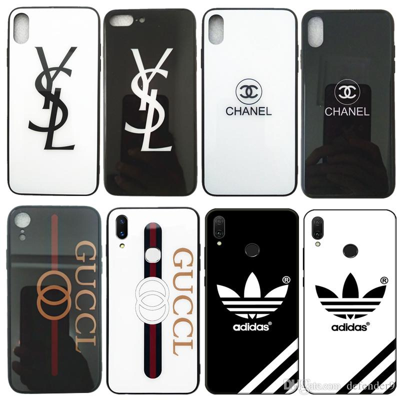7b09152348eb Luxury Phone Case For IPhone Xs Max Case Tempered Glass Fashion New Brand  Pattern Print Designer IPhone Case For IPhone Xs Xr 8Plus Phones Cases  Silicone ...