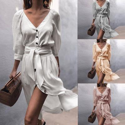 Women New V-neck Straps Dress Half Sleeves Fashion Ladies Sexy Split Shirt Dresses Female Solid Color Skirts with Botton