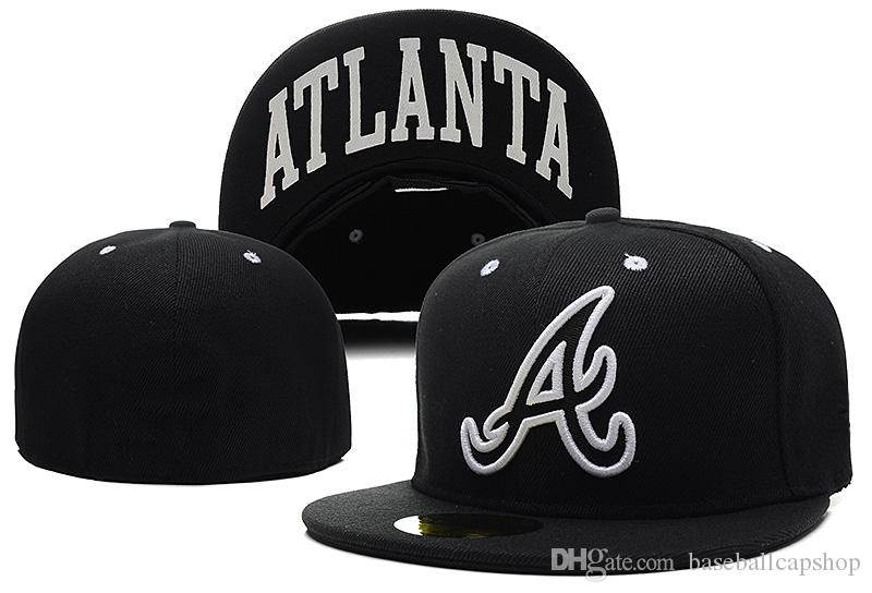 2018 New Braves in Navy Blue color with Red Brim Fitted Flat Hats Embroidered team logo Closed Caps Hip Hop Design One Piece