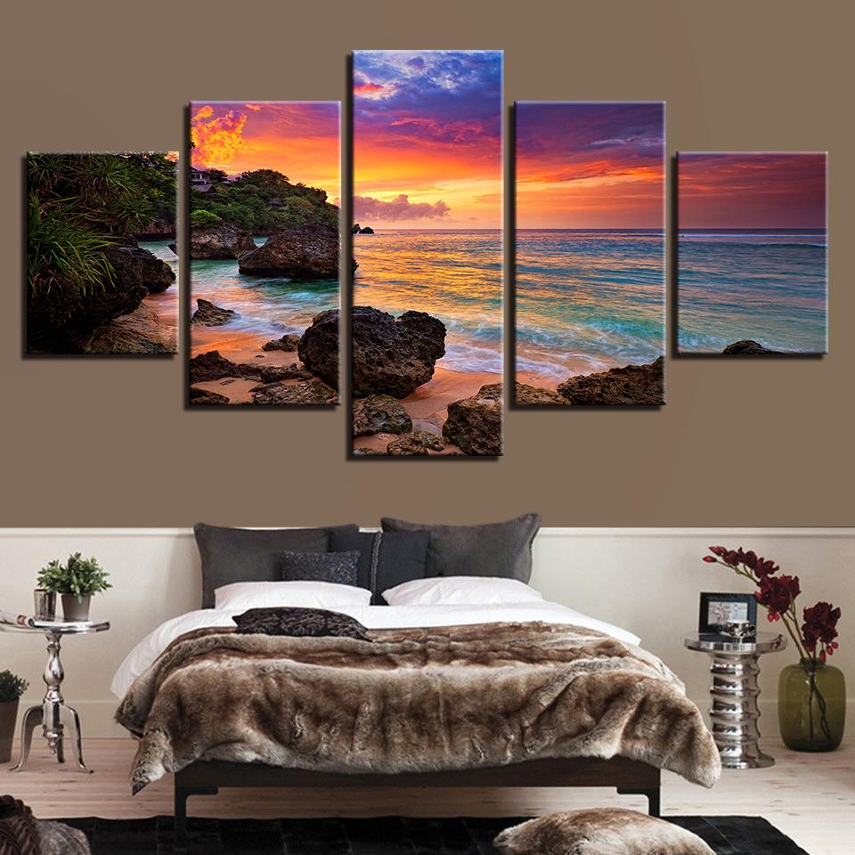 Pictures Artwork Canvas Printed Seascape 5 Panel Canvas Decoration Poster Sunset Glow Wall Art Painting Beach Waves Modern Frame