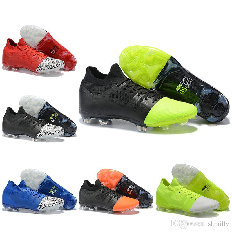 b53e767d8 New Mens High Tops Football Boots Mercurial Greenspeed 360 FG Soccer Shoes  Original Superfly VI GS360 Fluorescent Green Black Soccer Cleats Silver  Shoes ...