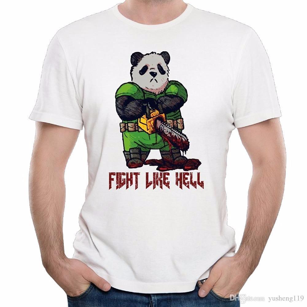 ea671c5c3 Compre Melhores Sites De Camisa De T Homens De Manga Curta Impressão Mens  Espaço Panda Marinha Luta Como Inferno Bonito Camiseta Tripulação Pescoço  Camisa ...
