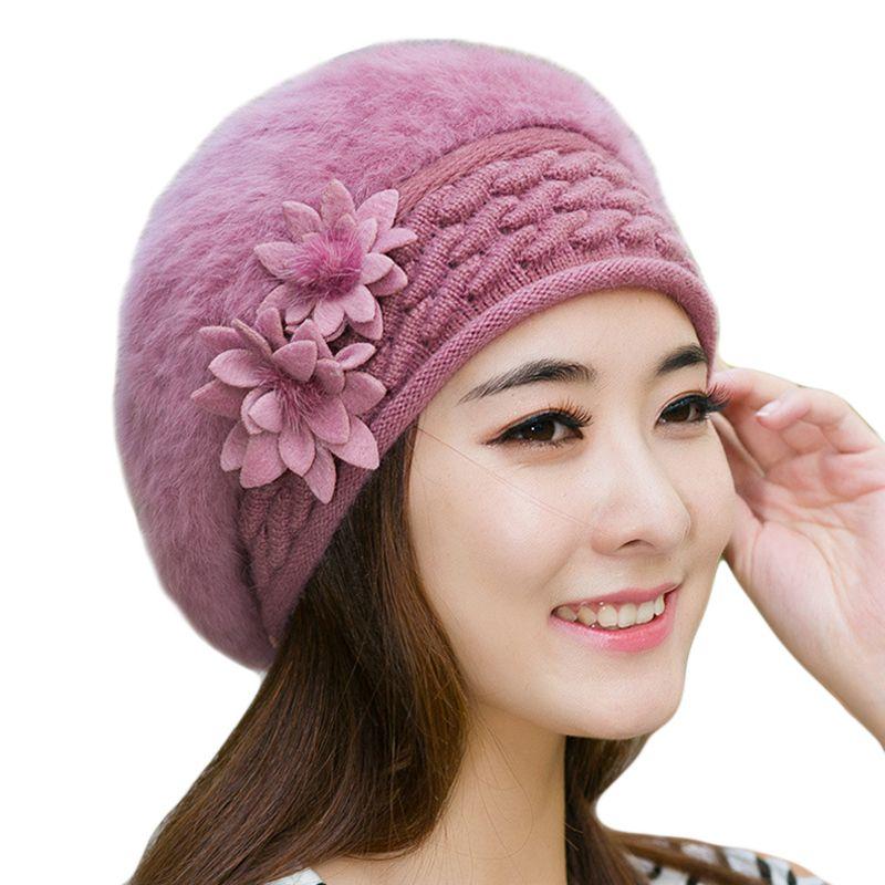 Warm Winter Hats For Women 2018 Wool Knitted Beret Beanies Female Caps Faux  Rabbit Fur Braided Hats Gorros Cap Bonnet Femme S18120302 Baby Hat Crochet  Baby ... 3102c090e4