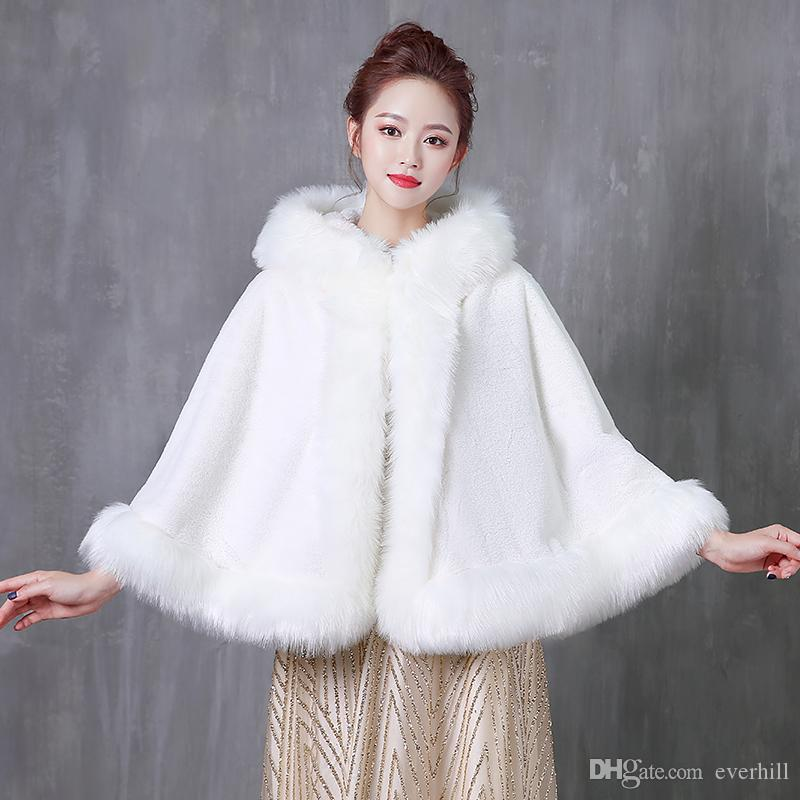 c217333bf80 2019 JaneVini Hooded Short Shrugs For Women Winter Faux Fur Wedding Wraps  Bolero Fourrure Bridal Ivory Cape Coat Stoles Abrigos Novia 2019 From  Everhill, ...