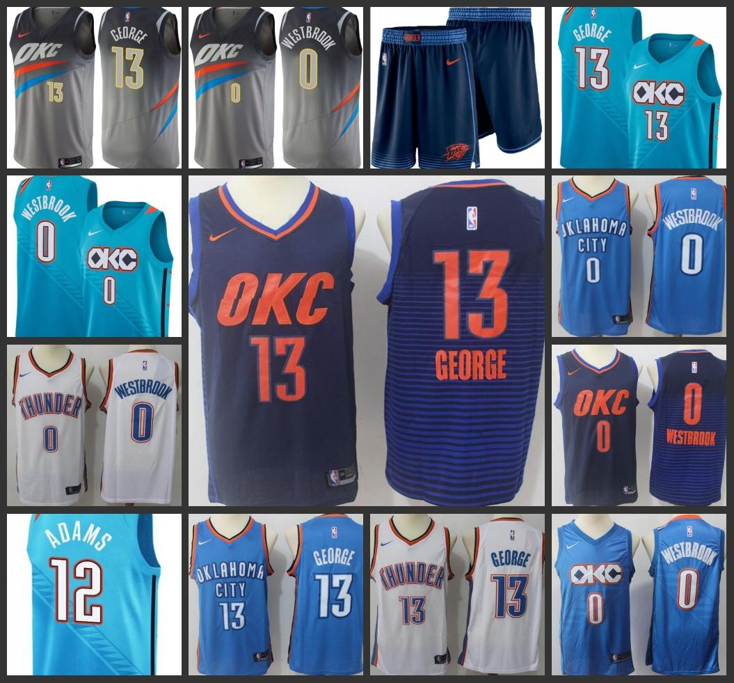 new product f969a 65273 2019 Oklahoma Men City Thunder Jersey Paul George Russell Westbrook Steven  Adams City OKC Edition Jerseys Free shipping