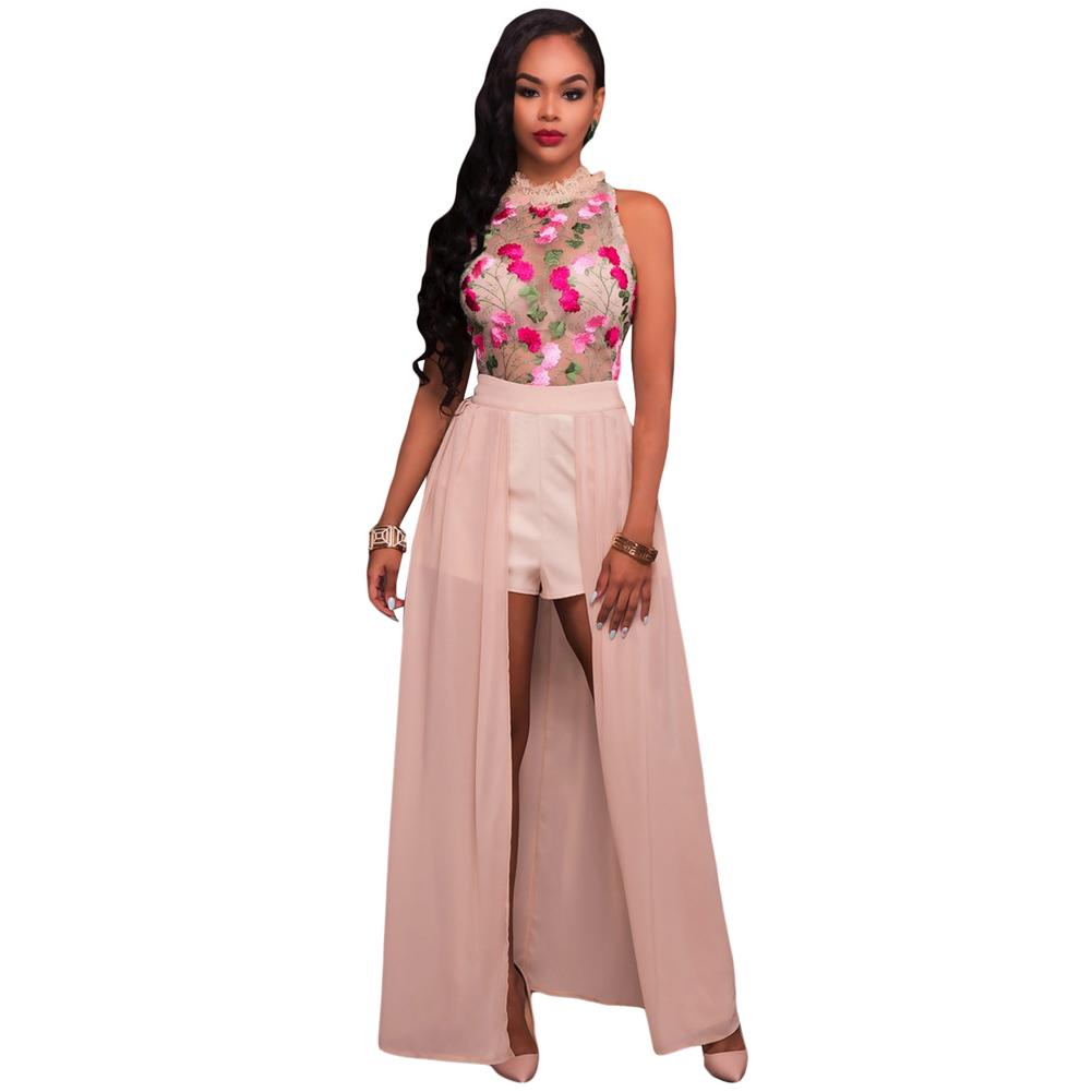 95450239b9c 2019 Sexy Women Jumpsuit Sheer Mesh Floral Embroidery Jumpsuit Sleeveless  Maxi Skirt Shorts Overalls Romper Elegant Casual Playsuit D19011501 From  Tai002