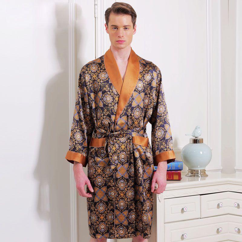 517be2534e 2019 Silk Robes New Arrival Male Long Sleeve Fashion Printed Bathrobe Robe  100% Mulberry Silk Sleepwear Robe For Men Sexy Kimono From Cutelove66
