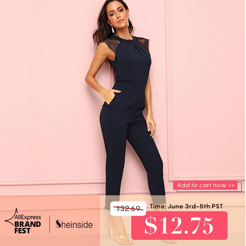 Sheinside Navy Eyelash Lace Cuff Pleated Jumpsuit Elegant Summer Jumpsuits For Women 2019 Solid Mid Waist Tapered Maxi Jumpsuit Y19060501
