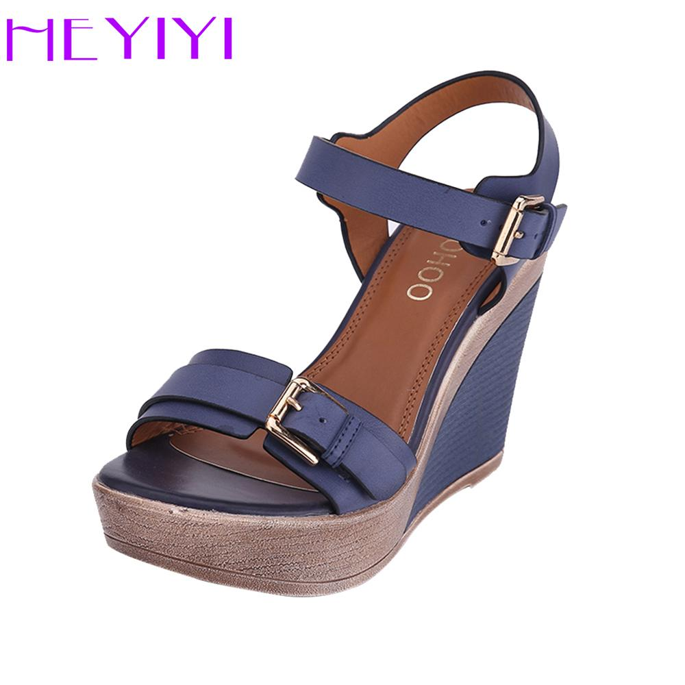 ecd1a631f98 Wedges Shoes Women Sandals Platform High Heels 11cm Solid Buckle Strap PU  Leather Soft Insole Blue Lightweight Black Blue Shoes Pumps Shoes Slippers  For Men ...