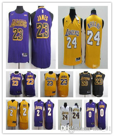 cheap for discount 453c6 90a0c 2019 NEW 23 James Jersey man LBJ Yellow Purple lonzo ball Los Angeles  LeBron James Black kobe bryant Basketball Jerseys