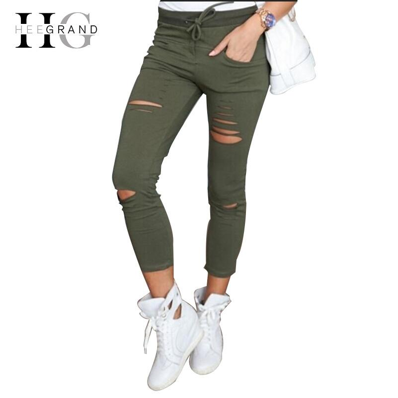 Women Fashion Pencil Pants Ladies Stretch Drastring Casual Hole Broken Trousers Plus Size 4XL