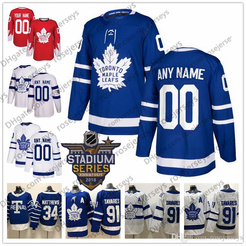 034c9aa82c1 Custom Toronto Maple Leafs White Stadium Series Blue Jersey Any ...
