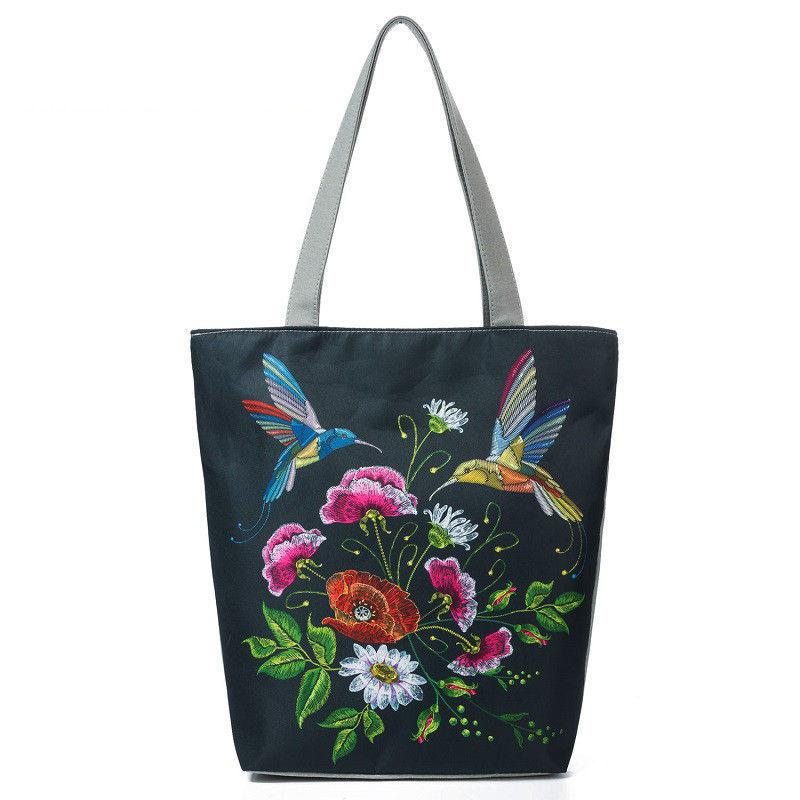 good quality Colorful Floral And Bird Print Shoulder Bag Women Lmitation Embroidery Casual Tote Handbag Female Canvas Lady Handbag