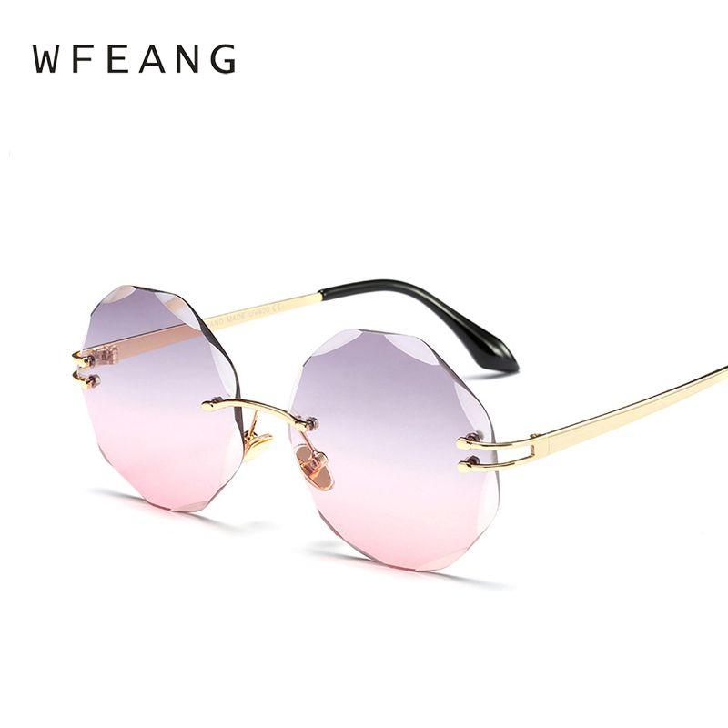 d0f27a4de18 WFEANG Retro Round Frameless Sunglasses Women Luxury Brand Designer Mirror  Sun Glasses High Quality Lunette De Sol UV400 Online with  27.98 Piece on  ...