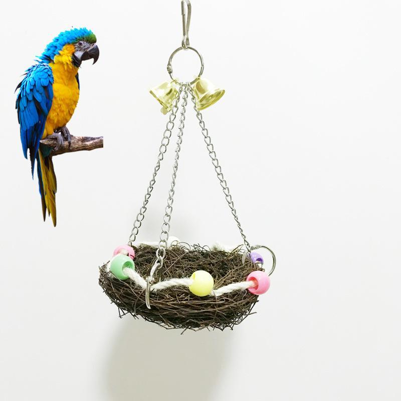 De Colgante Trenzado Juguetes El Nido Artículo Bastidor Columpio Para Soporte Pájaro Paja Loro Frontera Canasta Mascotas Pequeños n0w8XOkNP