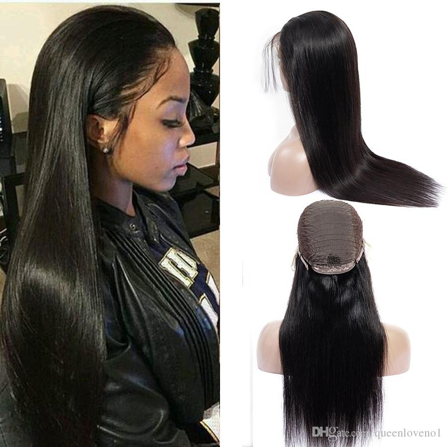Hair Extensions & Wigs Buy Cheap Alot Brazilian Straight 360 Lace Frontal With Baby Hair Non Remy Pre Plucked Human Hair Closure Natural Black Color 8-20