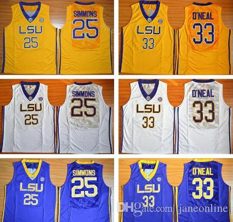 f9a877cff32 2019 LSU College Basketball Jersey Ben Simmons Stitched Shaquille 33 O Neal  Louisiana State Basketball Shirts High School Basketball Jersey From  Janeonline