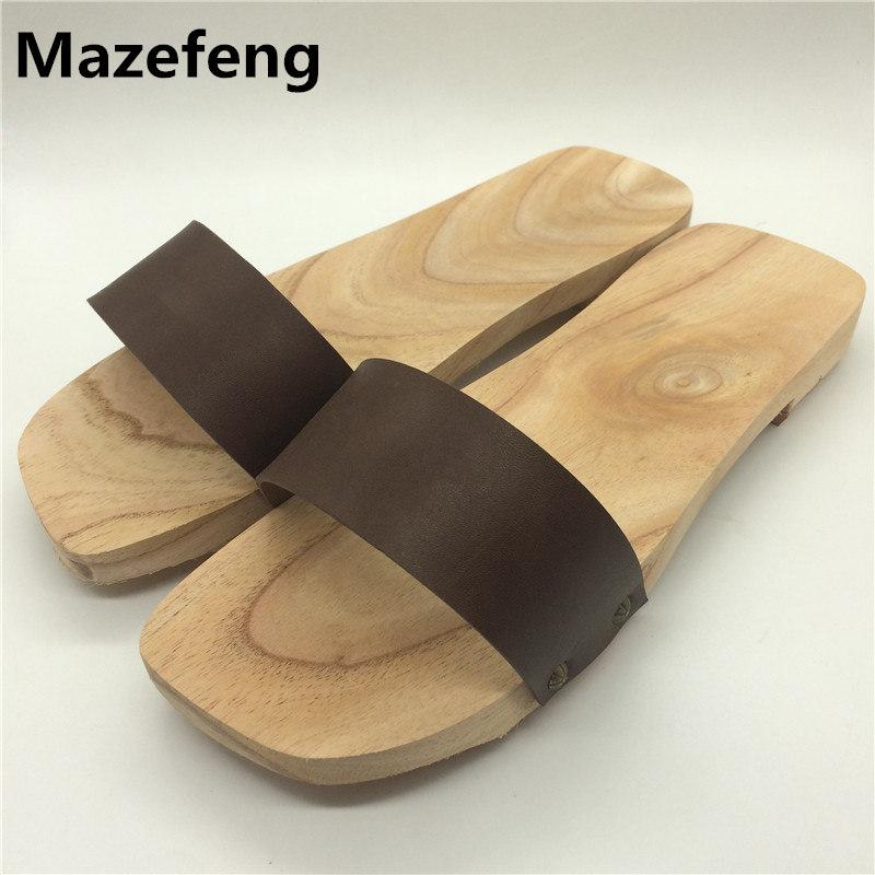 7ee9d32aba Compre Tradicional Manual Lacquerless De Madeira Tamancos 2016 Moda Unissex  Chinelos Amantes Sapatos Mulheres Sandálias Tamanho 5 9.5 De Delina