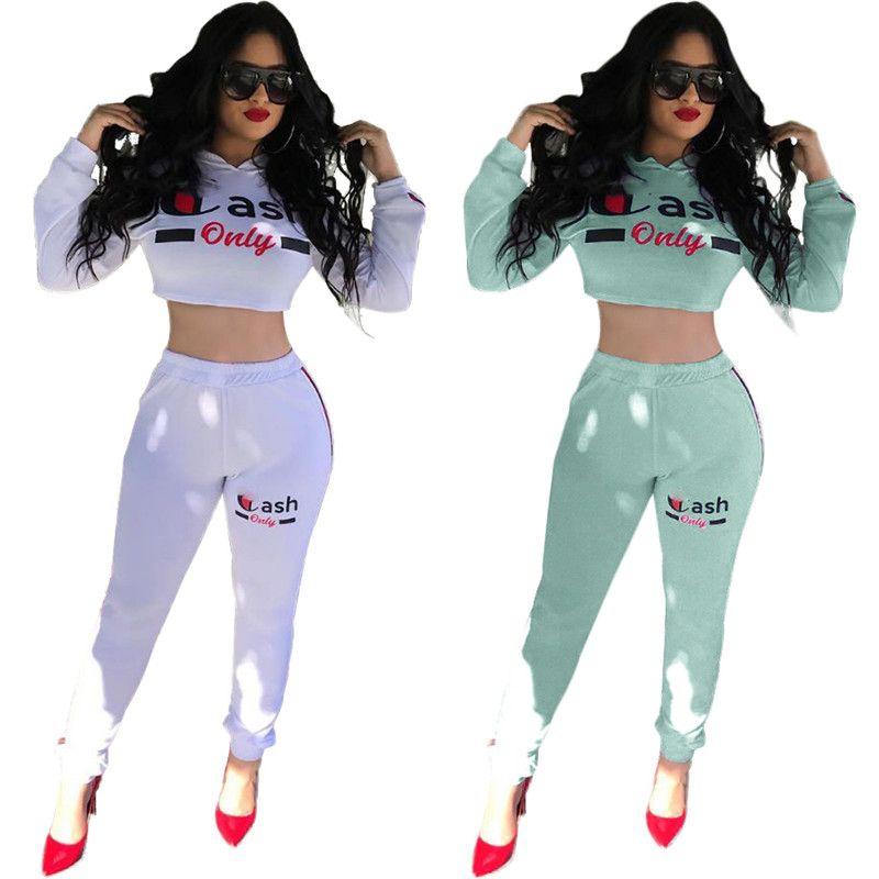 9087084bd5 Women Champions Letter Print Tracksuit Long Sleeve T Shirt Crop Top Pants  Leggings 2PCS Set hoodie Outfits Sportswear Clothing Suit
