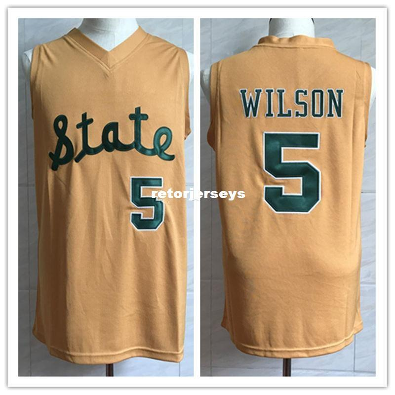 on sale 39e24 e9716 #5 DJ Wilson Michigan State college Retro Classic Basketball Jersey Mens  Stitched Custom Number and name Jerseys