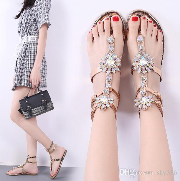 Summer Women Clamp toes Rhinestone Beach sandals open toes flat heel  sandals Non-slip Women Sandals Gladiator Style