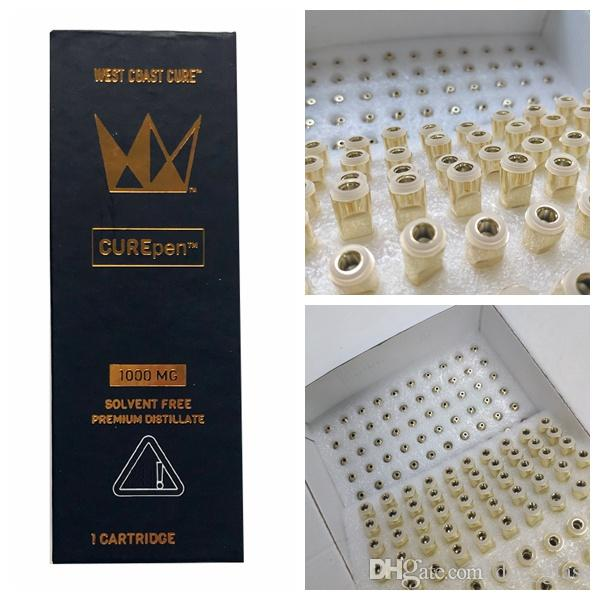 West Coast Cure Empty Vape Pen Cartridges 0.8ml 1ml Ceramic Curepen Vape Cartridge Packaging Gold Tip Thick Oil Glass Carts Childproof Box