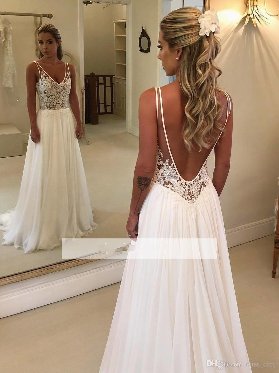 d0978a6fde6 Elegant A Line Beach Wedding Dresses 2019 Lace Applique V Neck Backless  Chiffon Bridal Gowns Cheap Custom Made Country Wedding Dresses Bohemian  Wedding ...