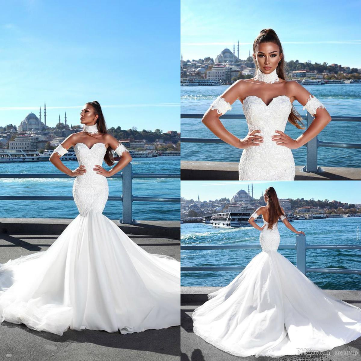 2019 Beach Mermaid Wedding Dresses With Armband Necklet Sweetheart Lace  Backless Sweep Train Bridal Gowns Plus Size Robe De Mariée Wedding Dress  Wholesale ... 05d8167a6765