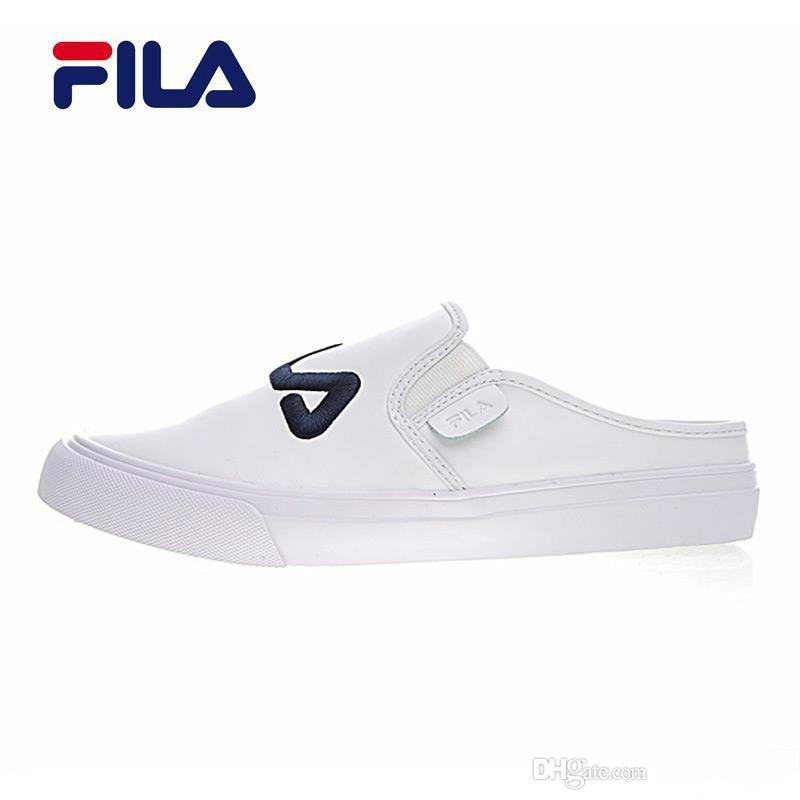 09d705e38048 2019 2018 Fila Classic Kicks Mule Half Slippers White Black Dark Blue Red  Men And Women Outdoor Shoes Size 36 44 From Xujianjun2083