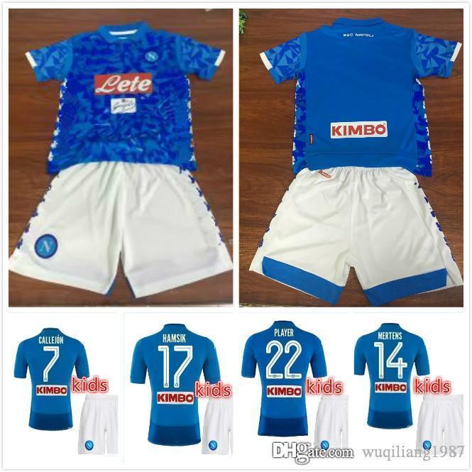 ab6d97be4 2019 KIDS KIT 2018 2019 Napoli Home Soccer Jerseys 18 19 Naples ZIELINSKI  HAMSIK INSIGNE MERTENS CALLEJON PLAYER SSC Children Football Shirts From ...