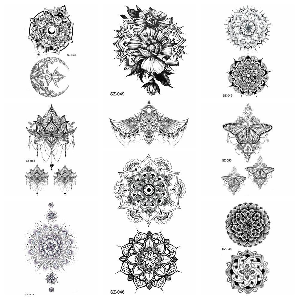 80902dc16 25 Style Black Henna Flora Temporary Tattoo Stickers Women Arm Pendants 3D  Waterproof Ear Tatoos Mandala Flower Fake Tattoo Girl Tattoo Designs Tatoo  From ...